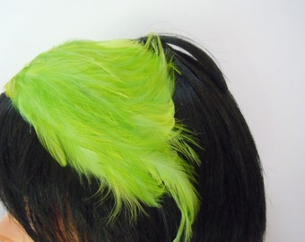 Lime Green Feather Hat Vintage Women's Accessory