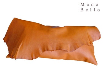 Soft Leather Clutch Raw Edge Bag Saddle Tan Medium Size, Leather Clutch Bag , One of a kind bags ,  Orange leather bag , Tan clutch in stock