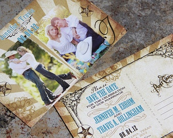 Western Chic, Burlap Photos Save the Date Post Card or Card. Double photo western save the date