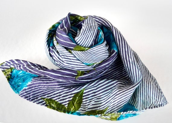 Blue stripped floral Silk Scarf Recycled accesories Silk Scarves  Woman Az