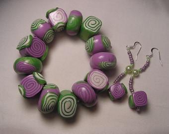 HANDMADE Clay Bracelet & Earring Set