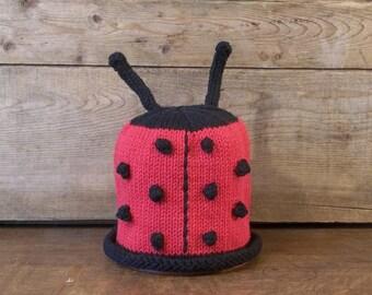 Knit  Ladybug Baby Hat, Newborn Ladybug Hat. Knit Handmade Ladybug Hat,Cotton Ladybug Cap