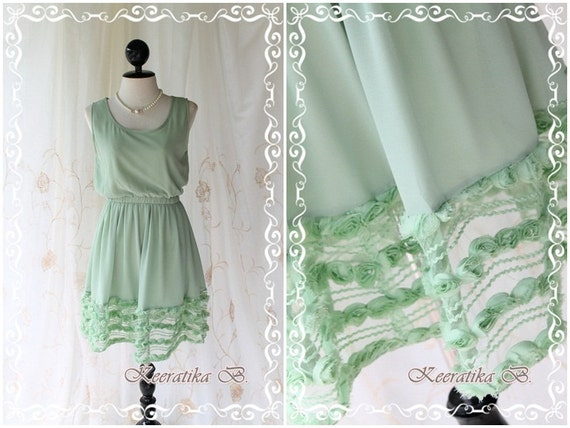 Lady Princess - Sweet Lovely Pastel Dusty Powder Green Sundress Sleeveless Simply Style See Through Flower Hemmed XS-S