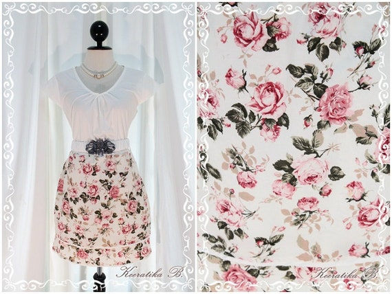 SALE - In The Garden - White And Floral Dress Feminine Sundress Cap Sleeve Floral Skirt Two Layers XS-S