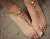 Happy feet macrame barefoot sandals hippie bohemian shoes beaded anklets orange surprise - MammaEarthCreations