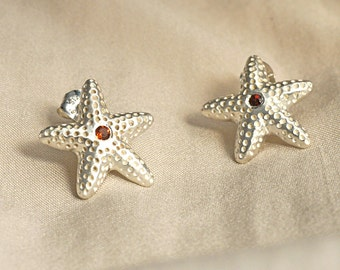 Sterling Silver Starfish Garnet Post Earrings