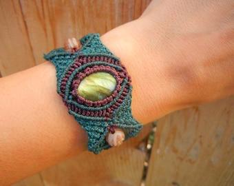 Labradorite Micro Macrame Bracelet Cuff in Fiber