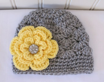 Baby Hat - Crochet Hat - Toddler Hat - Girls Hat - Winter Hat - Gray Hat - Grey Hat - Newborn Hat with Flower - in sizes Newborn to 3 Years