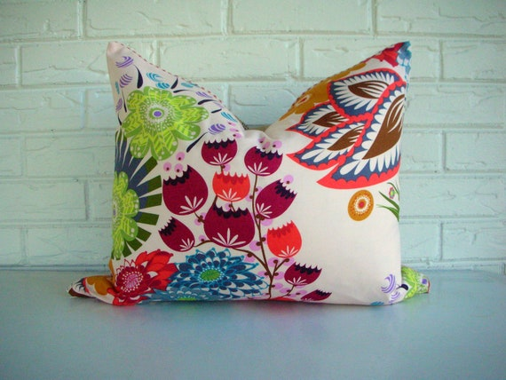 Blush Pink Floral Pillow - Pale Pink Coral Blue Print - Boho Ticking Pillow Cottage Chic
