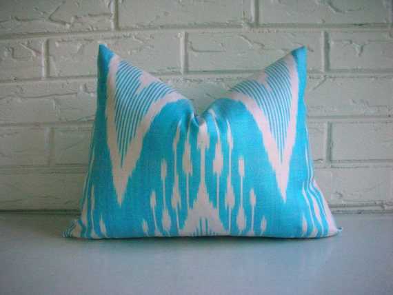 Aqua Ikat Pillow Cover - Decorative Throw Accent Lumbar - Chevron Stripe Zig Zag - Blue White - Boho Modern 12 x 16