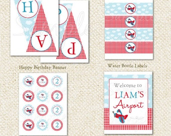 Airplane - DIY Printable Personalized Birthday Party Package Party Pack