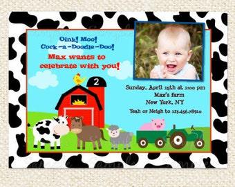 Barnyard Birthday Invitations, Farm animal Invitations, Boy, Girl, DIY printables