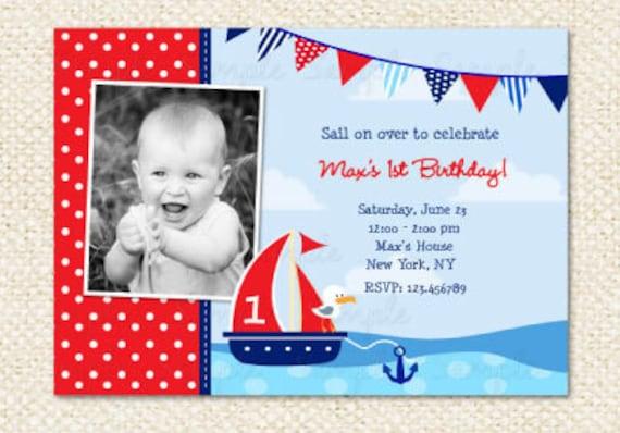 Nautical Birthday Invitation Sailboat Invitations Boat