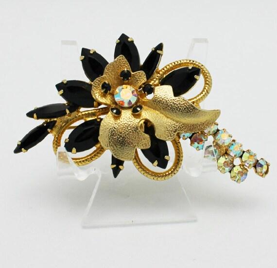 Vintage Juliana Brooch Black and Gold