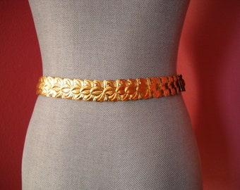 Vintage 1970s Gold Snake Stretch Belt with Leaves