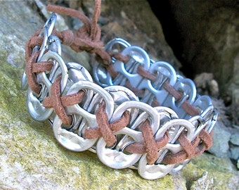 POP TAB BRACELET - Nate (Brown) -  masculine/unisex - for men - upcycled/recycled/eco-friendly - gifts under 15.00
