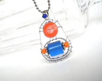 Upcycled Soda/Pull Tab Pendant Necklace - blue and orange team spirit -  soda pop tabs - upcycled/recycled jewelry - under 20.00