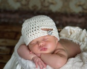 The Jewel Flapper Beanie in Ecru Available in Newborn to Preteen Size- MADE TO ORDER