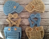 Vintage Twin Photography Prop Set in Wheat and Baby Blue Available in 4 Sizes- MADE TO  ORDER