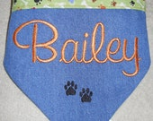 Personalized Dog Bandana - Green w/paws and bones