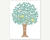 First Wedding Anniversary - Heart Tree w Love Birds - Green Yellow Digital Print Monogram Name Date - Engagement Shower Gift