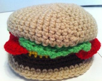 Crocheted hamburger baby hat
