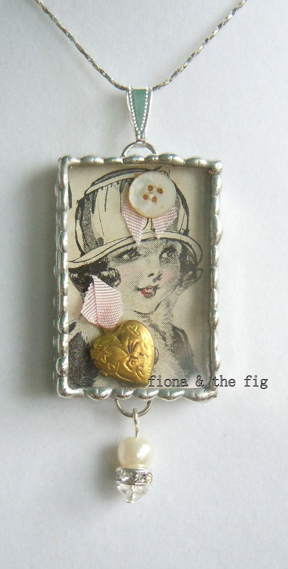 Fiona And The Fig  1920s Flapper Shadow Box Charm Necklace Pendant  DOUBLE SIDED