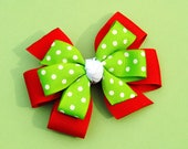 Red w/Lime Green Polka Dots Layered Christmas Hair Bow