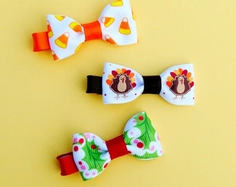 Holiday Hair Bows - Halloween, Thanksgiving, & Christmas 3-pack of Mini Bowtie Bows