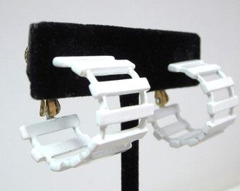 Vintage White Enamel Hoop Earrings, Signed Napier , Wow So Cute