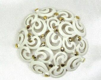 Vintage Monet Brooch White Enamel, Filigree