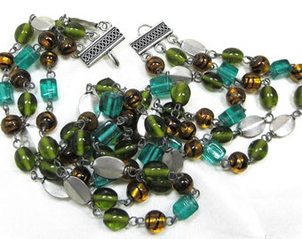 70s Hand Blown, Art Glass, Multi Strand Beaded. Vintage Necklace