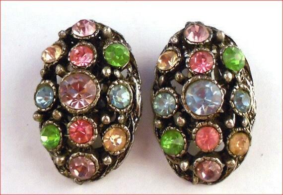Vintage Antiqued Silver Tone Multi-Colored Rhinestone Earrings Pink Blue Green