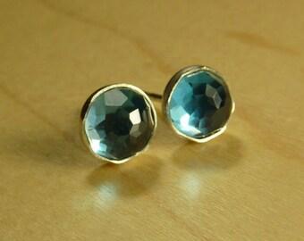 London Blue Topaz Post Earrings - 5mm London blue topaz