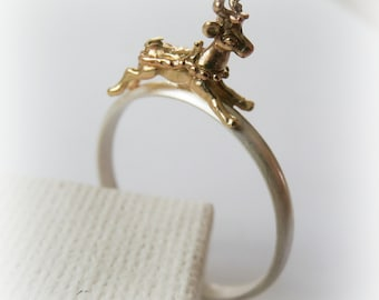 Reindeer sterling silver and brass ring - Christmas Stack Ring - Jewelry Stocking Stuffer