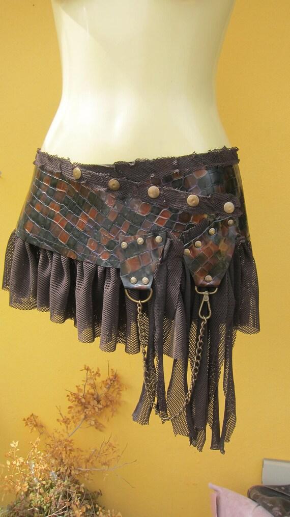 BURNING MAN.. croc print patent leather and lace belt/tutu...