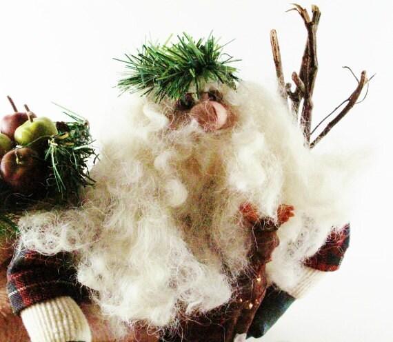 Christmas Santa Detailed Gift Bag with Fruit White Beard Faux Fur Black Boots