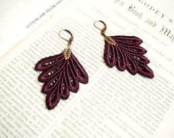 lace earrings -PHILLISE- merlot