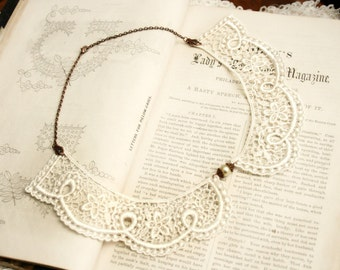 lace collar necklace -CHANTILLY- ivory - ecru - gray - grey