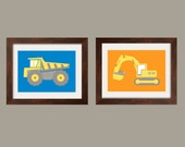 Construction Vehicles Prints, Nursery Wall Art Toddler Boy print set of 2 5x7 in blue, orange, yellow and gray