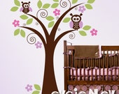 Children Wall Decal Wall Sticker -Cute Owls on Tree Decal - TRANMLOWL020