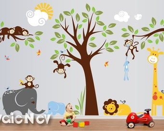 Wall Decals Nursery - King of the Jungle Baby Nursery Decor with Sleeping Lion, Giraffe, Elephants and Monkeys - PLMG050