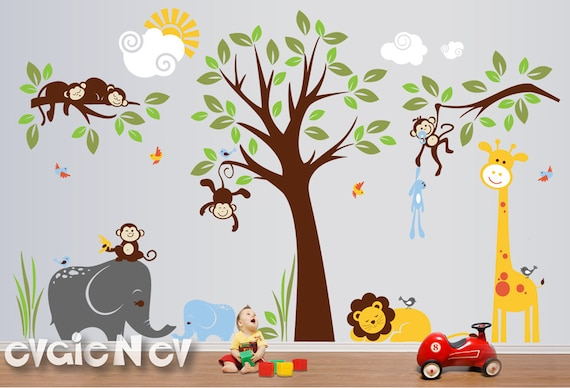 Safari Wall Decals, Nursery Wall Decals, Monkey Wall Decals, Baby Wall Decals, Jungle Wall Decals - PLMG050