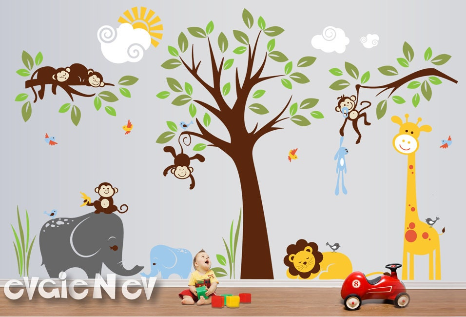 Safari wall decals nursery wall decals monkey wall decals for Baby jungle safari wall mural