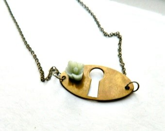 Keyhole Necklace Escutcheon Necklace Vintage Repurposed  One of A Kind