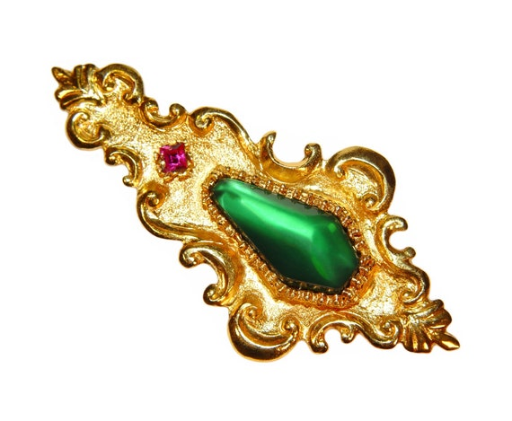 Christian Lacroix Brooch, Large, Baroque, Signed, Collectible, Rare, Vintage 1980s