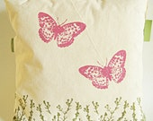 """Pink Butterflies in the Meadow/ Handprinted Pillow Cover / Organic Cotton Canvas/ Green and Yellow/ 16""""x16""""/ Made To Order"""