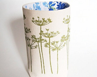 Organic Cotton Canvas Box Bin Organizer Storage Basket Hand Printed Green Anne's Lace Flowers/ Made To Order