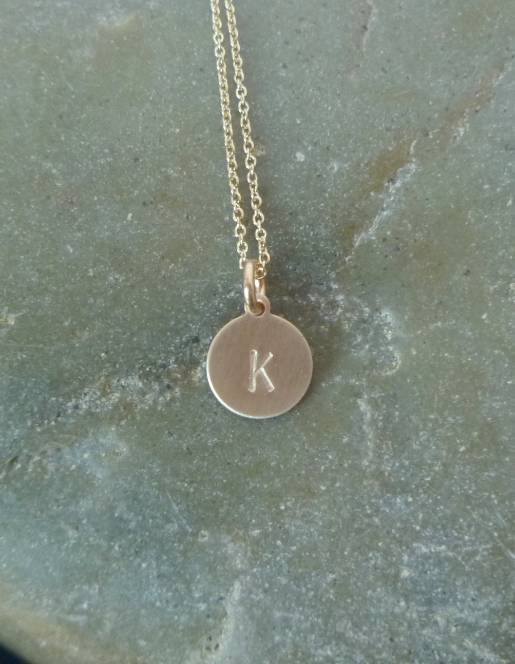 gold disc initial necklace small 9mm 14k gold filled disc. Black Bedroom Furniture Sets. Home Design Ideas