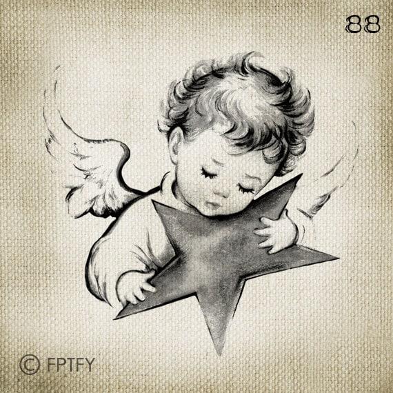 28 Angel Drawings Free Drawings Download: Items Similar To Beautiful Vintage Baby Angel LARGE